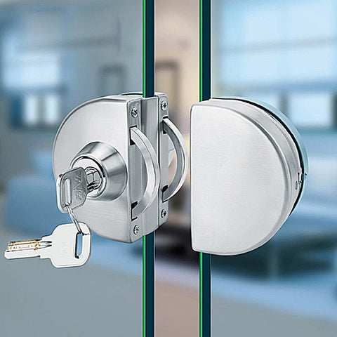 $11.36- No Punch Glass Door Lock Frameless Glass Door Framed Doors Stainless Steel Double Door Locks Mute Glass Clip