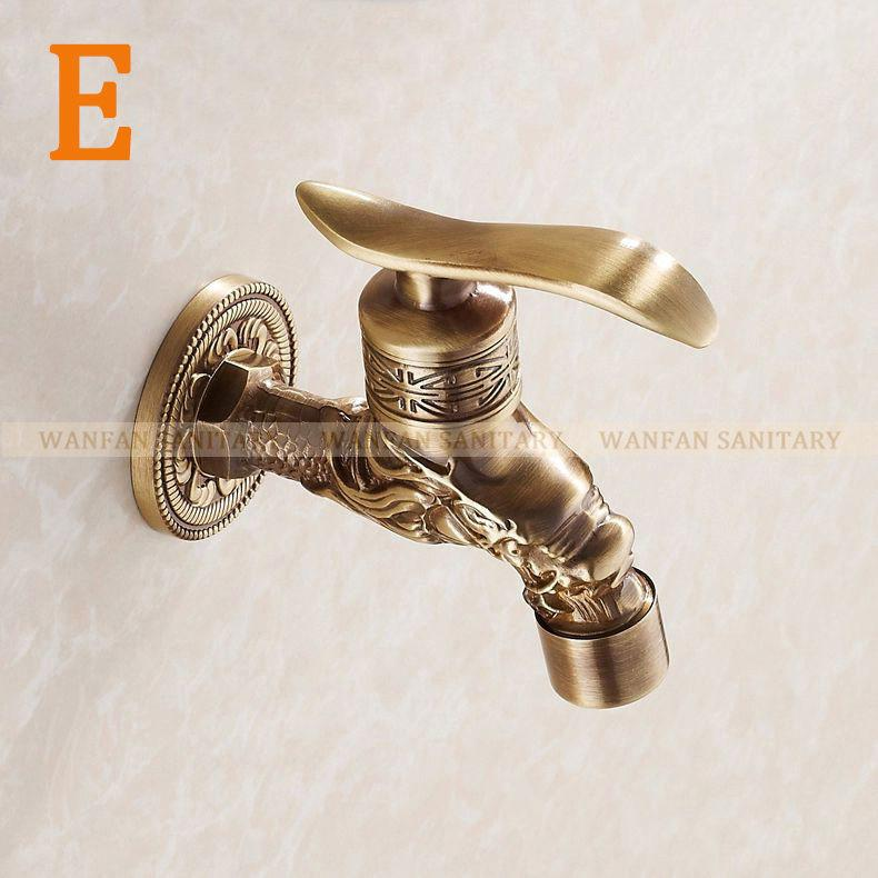 $34.18- Bronze Bibcock Faucet Tap Crane Antique Brass Finish Bathroom Wall Mount Washing Machine Water Faucet Taps Hj8665F