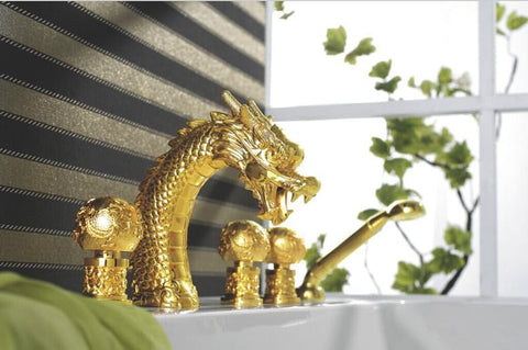 $1102.64- Gold Colour 5 Pcs Widespread Dragon Pattern Bathroom Bathtub Faucet Waterfall Tub Dragon Faucet Lb69A0185