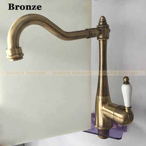 $93.23- Bathroom Basin Faucet Chrome Polished Brass Swivel Ceramic Handle Kitchen Faucet/ Bathroom Basin Mixer Tap Faucet Hj7801