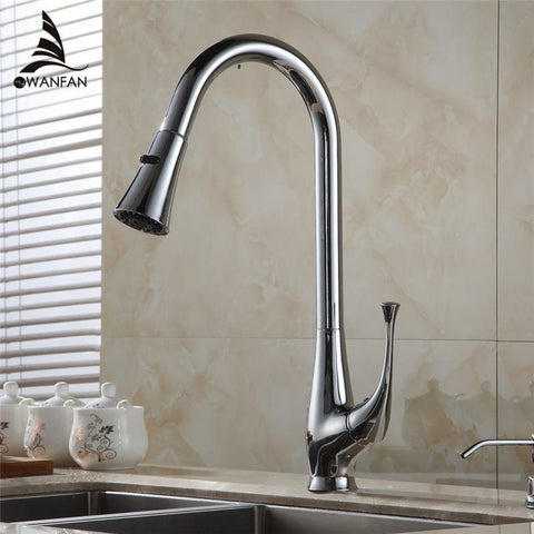 $101.98- Design Pull Out Faucet Chrome Swivel Kitchen Sink Mixer Tap Kitchen Faucet Vanity Faucet 408907