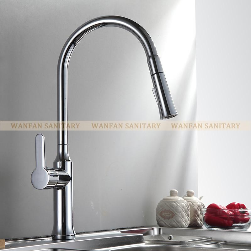 $127.64- Creative Chrome Brass Kitchen Faucet Single Hole Deck Mount Pull Out Kitchen Mixer Taps Dual Sprayer Nozzle Lk9901