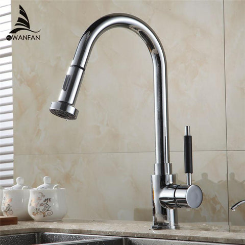$97.92- HOT SALE Pull Out Polished Chrome Kitchen Sink Basin Mix Tap Faucet kitchen faucet mixer kitchen tap HJ8055L