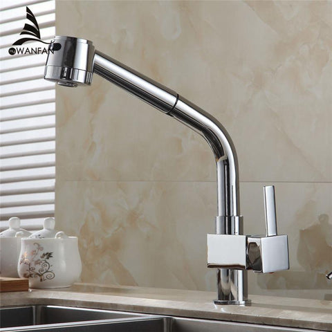 $110.33- Brass Sink Pull Out Kitchen Faucet Hot Cold Mixer Water Tap Deck Mounted Single Hole Single Handle Polished Gyd5104L