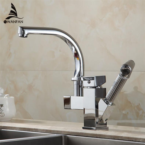 $120.62- Chrome Promotion Kitchen Pull Out Swivel Faucet Mixer Tap Vanity Faucet Kitchen Faucet Hj8019