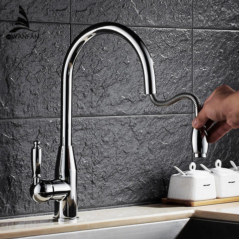 $113.99- Modern Chrome Kitchen Faucet Pull Out Single Handle Swivel Spout Vessel Sink Mixer Tap Hot Cold Water Lh6073L