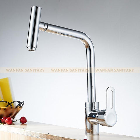 $98.94- Chrome Plated Hot Cold Water Single Handle Bathroom Basin Faucet 360 Degree Swivel Spout Kitchen Faucet Mixer Tap YcCf5021