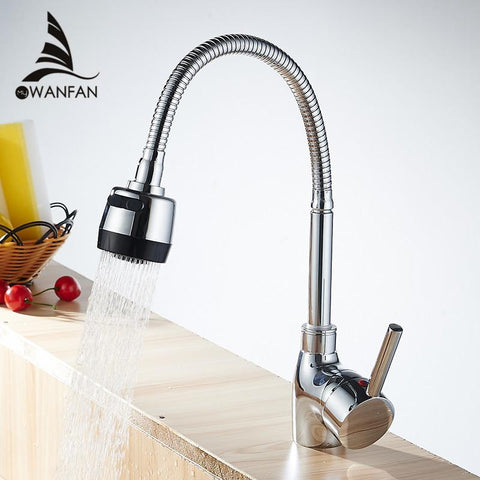 Modern Chrome Kitchen Faucet Pull Out Single Handle Swivel Spout Vessel Sink Mixer Tap Hot Cold Water Lh6073L