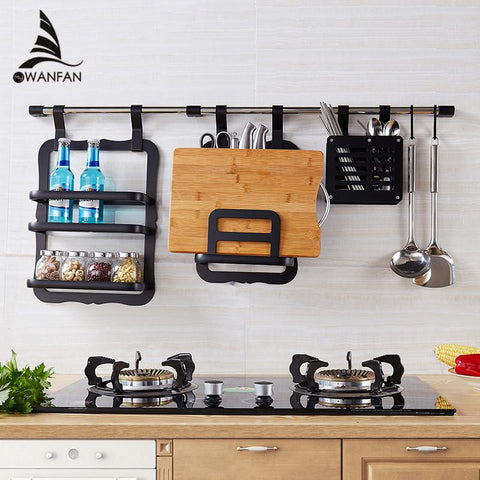 $126.58- Wall Mounted Aluminium Kitchen Pot Cover Holder Storage Shelf Rack Kitchen Tool Holder Kitchen Rack Shelving Spice Rack YgT983R