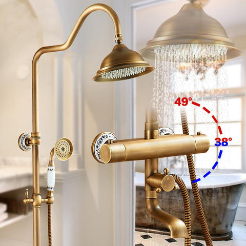 $381.15- Wall Mounted Antique Brass Two Handle Thermostatic Shower Mixer Thermostatic Faucet Shower Taps Antique Finish Ast9507