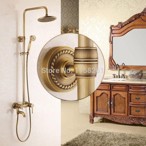 $293.12- Arrival Antique Brass Finish Bathroom Rainfall W/ Spray Shower Durable Brass Construction Faucet Set Home Decoration 9139