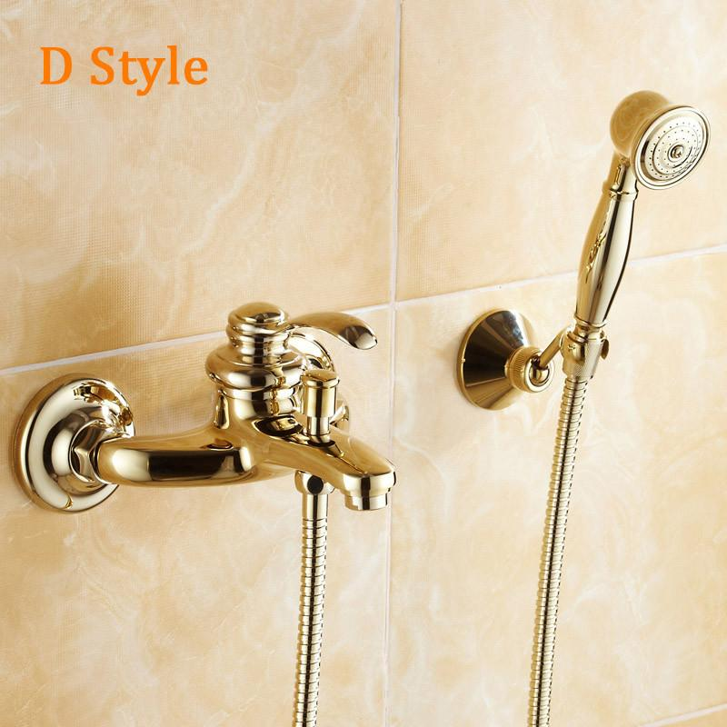 Buy Wall Mounted Golden Brass Bathroom Bathtub Faucet Handheld