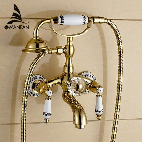 $167.08- Golden Bath Faucet Shower Porcelain Shower Faucet Bathroom Telephone Bath Faucet W/ Hand Shower Bathroom Shower Tap Wf18025