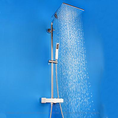 $295.02- Bathroom Rainfall Thermostatic Shower Set Mixer Tap Chrome Finish Shower Faucet High Quality Jm758L