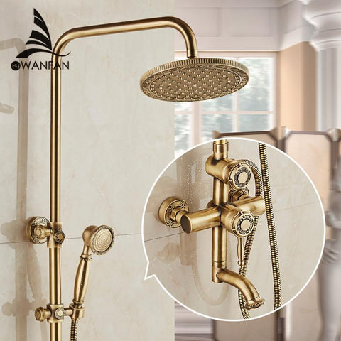 $479.70- Luxury Antique Brass Carving Rainfall Shower Sets Faucet Mixer Tap W/ Tub Faucet Single Handles 10135