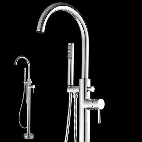 $257.40- New Floor Mounted Bathroom Brass Bathtub Faucet Single Handle Chrome Finished Tub Filler Hand Shower Sprayer 6022