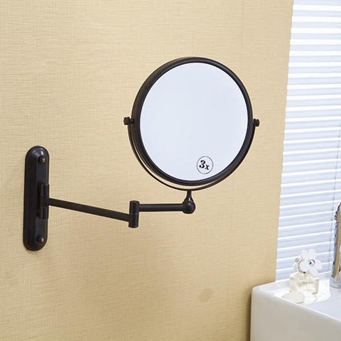 $72.07- 8' Black Antique Finish Beauty Brass Wall Mounted Bathroom Mirror Double Side 3X1 Magnifying Makeup Mirror 1548