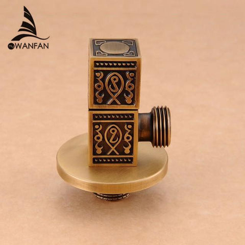 $23.04- High Quality 1/2Malex 1/2 Male Brass Bathroom Angle Stop Valve Antique Finish Filling Valves Bathroom Parthj0317F