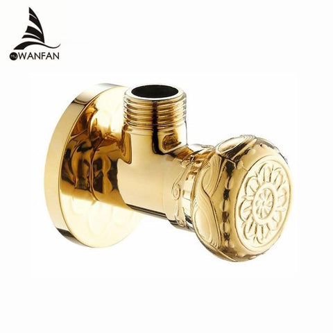 $24.84- High Quality 1/2Malex 1/2 Male Brass Bathroom Angle Stop Valve Gold Finish Filling Valves Bathroom Part Hj0318K