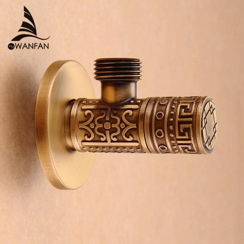 $21.24- High Quality 1/2Malex 1/2 Male Brass Bathroom Angle Stop Valve Antique Finish Filling Valves Bathroom Part Hj0316F
