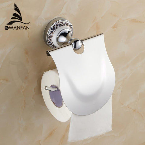 $42.12- Hot Bathroom Accessories Blue & White Porcelain Solid Brass Golden Finish Toilet Paper Holder/Bathroom Product St6708