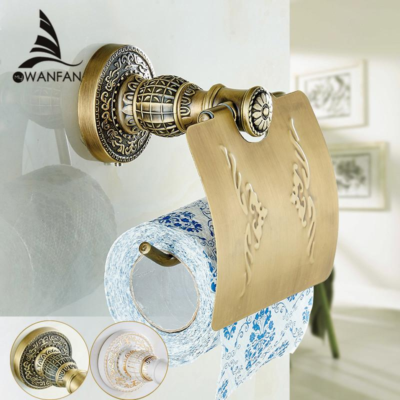 $53.46- Antique Brass Paper Towel Rack Europe Style Bathroom Paper Holder European Toilet Paper Box Toilet Accessories Paper Sl7803