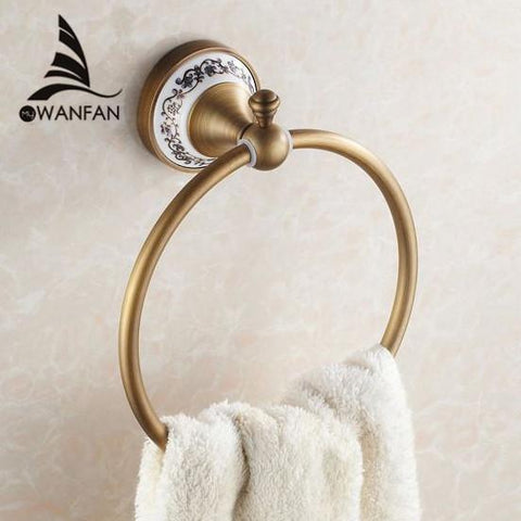 $44.28- High Quality Wall Mount Towel Ring/Towel HolderSolid Brass Construction Antique Bronze FinishBathroom Accessories Hj1808