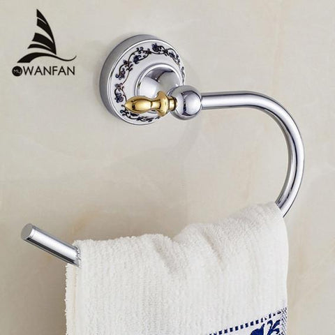$42.12- Blue & White Porcelain Towel Ring/Towel HolderCeramic ConstructionBath HardwareBathroom Accessories Ceramic Base 6707