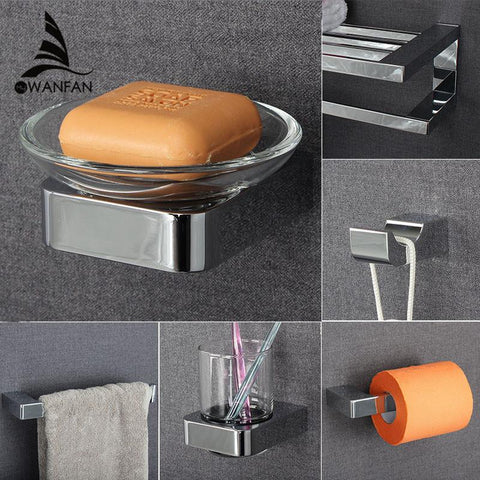 $15.01- Metal Bathroom Series European Moderntowel Ring/ Toilet Paper Holder/Cup Holder/Robe Hook Bathroom Hardware Fm5700