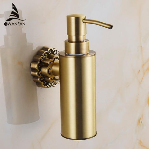 $76.28- Wall Mounted Carving Antique Bronze Finish Brass Material Soap Dispenser /Bathroom Accessories Liquid Soap Dispenser 10704F