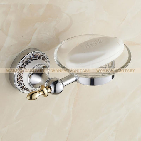$60.50- Hot Blue&White Porcelain Soap Dish/HolderSolid Brass ConstructionChrome FinishBathroom Accessories/Hardware St6705