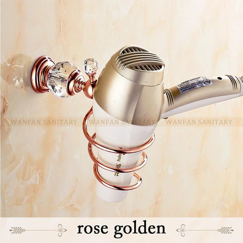 $53.46- Brass Crystal Bathroom Wall Shelf WallMounted Hair Dryer Rack Storage Hairdryer Support Holder Spiral Stand Holder Hk36