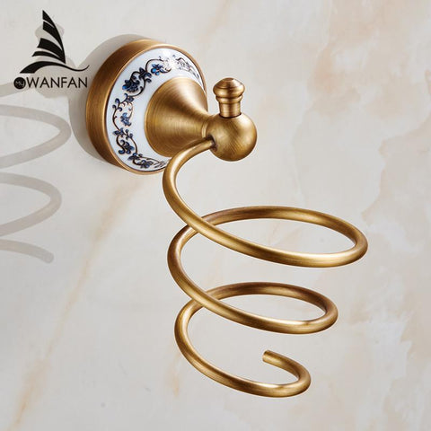 $41.40- Wall Mounted Hair Dryer Holder Antique Brass Hairdryer Rack Bathroom Accessories Storage Shelf Hj1823F
