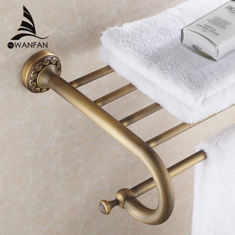 $127.50- Arrival Fashion Antique Brass Towel Rack Shelf Bathroom Accessories Luxury Bath Towel Holder Toilet St3701