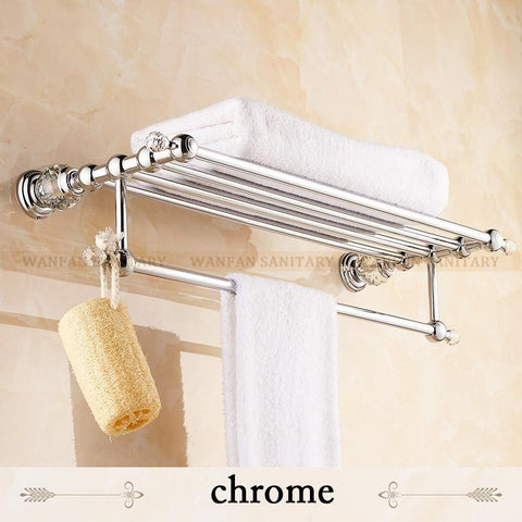 $134.27- BrassCrystal Titanium Gold Plating Towel RackTowel Shelf W/ BarTowel Holder Bathroom Accessories Hk20