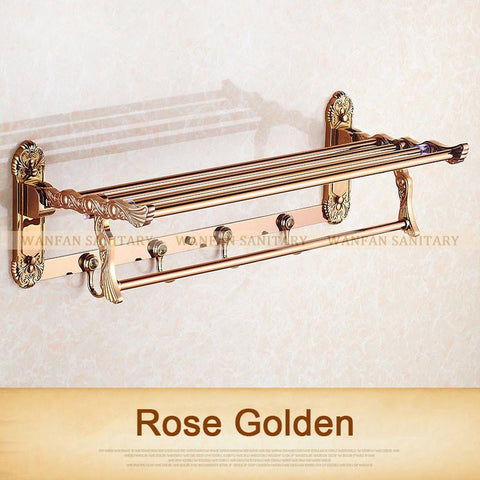 $152.41- Wall Mount Retro Style Carving Design Folding Bathroom Towel Rack Antique Towel Shelf & Hooks 7641