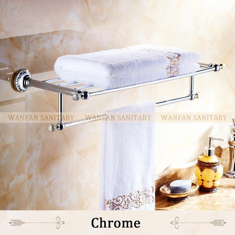 $131.22- Crystal Copper Chrome Finish Towel Holder Towel Rack Bathroom Accessories Towel Bars 6303
