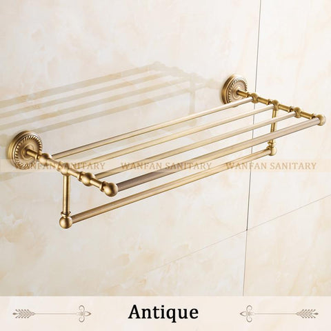 $118.32- Arrival Bathroom Accessories Classic Antique Bronze/Gold/Black Finish Bathroom Towel Rack Bar Shelf Wall Mounted Hj1312
