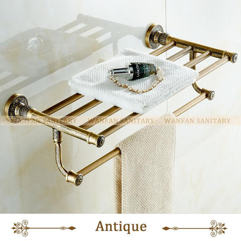 $152.41- White Towel Shelf Antique Bath Towel Rack Active Bath Towel Rack Bathroom Cloth Holder Antique Double Towel Shelf Sl7841