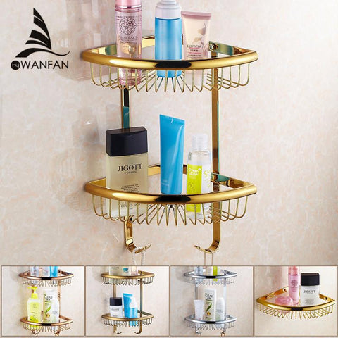 $46.44- Golden Brass Bathroom Shelves 2Tier Bathroom Storage Basket Wall Mount Bathroom Shelf Hj116Bk