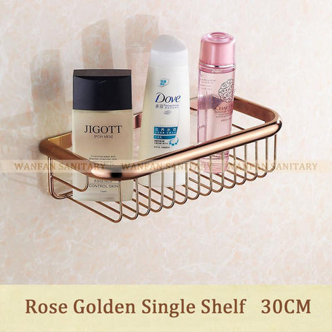 $46.44- Shampoo Holder 30Cm Wall Mounted Strong Brass Made Chrome Finish Single Tier Bathroom Shelf /Shelves Bathroom Baskethj830