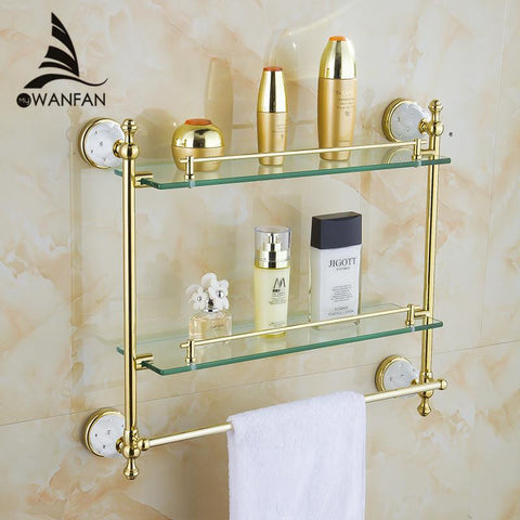 $196.35- Bathroom Accessories Solid Brass Golden Finish W/ Tempered GlassDouble Glass Shelf Bathroom Shelf 5216
