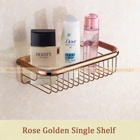 $46.44- Two Layer Bathroom Rack Chrome Brass Towel Washing Shower Basket Bar Shelf /Bathroom Shelves For Bath Hj829