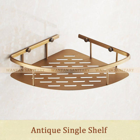 $44.55- Wall Mounted Antique Finish New Brass Bathroom Shower Shelf Basket Holder Building Materials Hj823