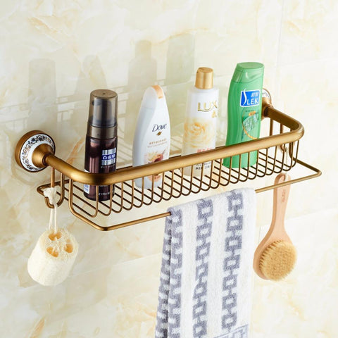 $118.00- Antique Brass Blue & White Porcelain Bathroom SingleTier Bathroom Storage Rack Wall Mount Bathroom Shelf W/ Towel Bar 1805F