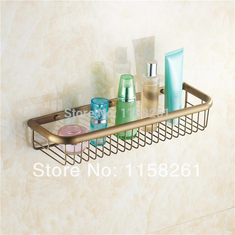 $68.77- 45Cm Wall Mounted Antique Finish Strong Brass Made Square Single Tier Bathroom Shelf Bathroom Basket Kh1067