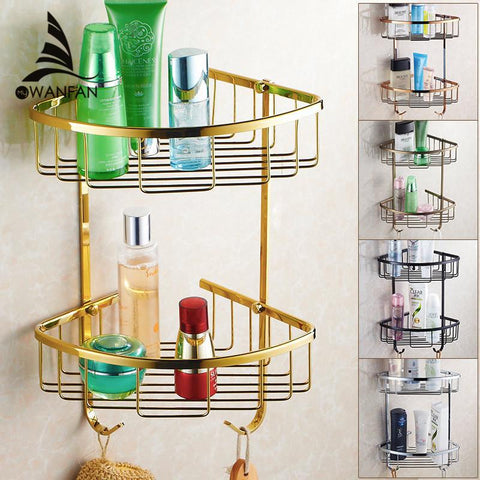 $41.38- Wall Mounted Golden Brass Bathroom Soap Basket Bath Shower Shelf Basket Holder Building Material Hj826