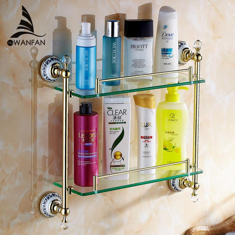 $185.64- Bathroom Accessories Solid Brass Golden Finish W/ Tempered GlassCrystal Double Glass Shelf Bathroom Shelf 6314