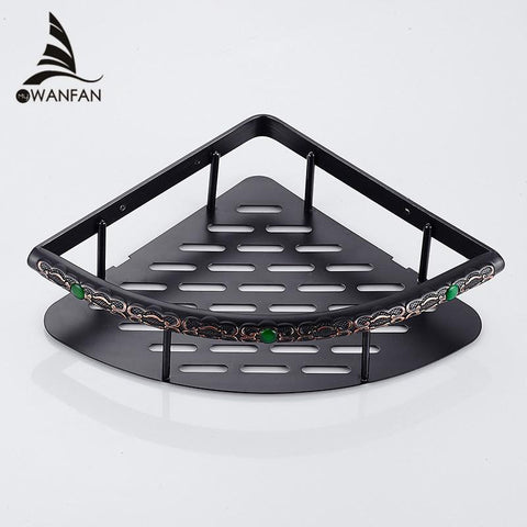 $53.82- Wall Mounted Black Brass Bathroom Soap Basket Bath Shower Shelf Basket Holder Building Material Fe8626