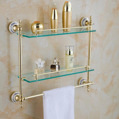 $132.60- Bathroom Accessories Solid Brass Golden Finish W/ Tempered GlassDouble Glass Shelf Bathroom Shelf St6316